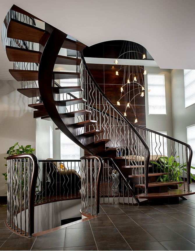 Wood and stainless steel staircase H011G