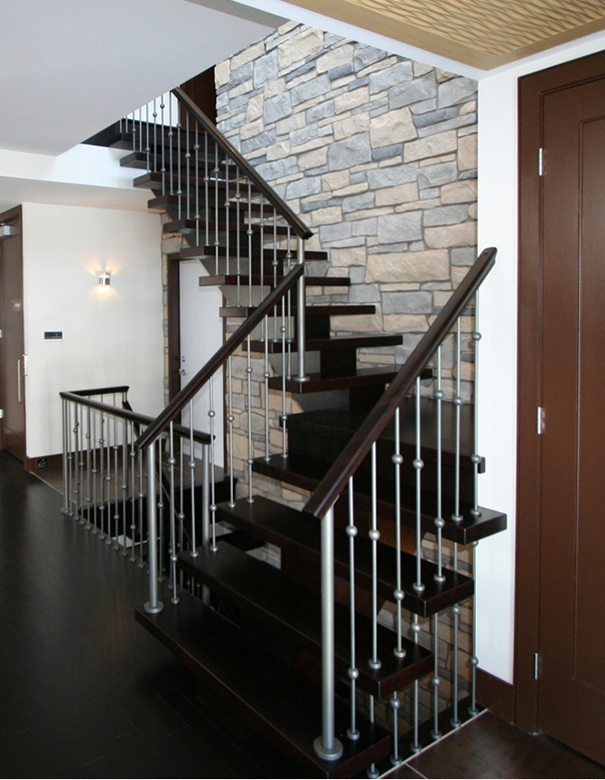 Wood and forged steel staircase H 015A