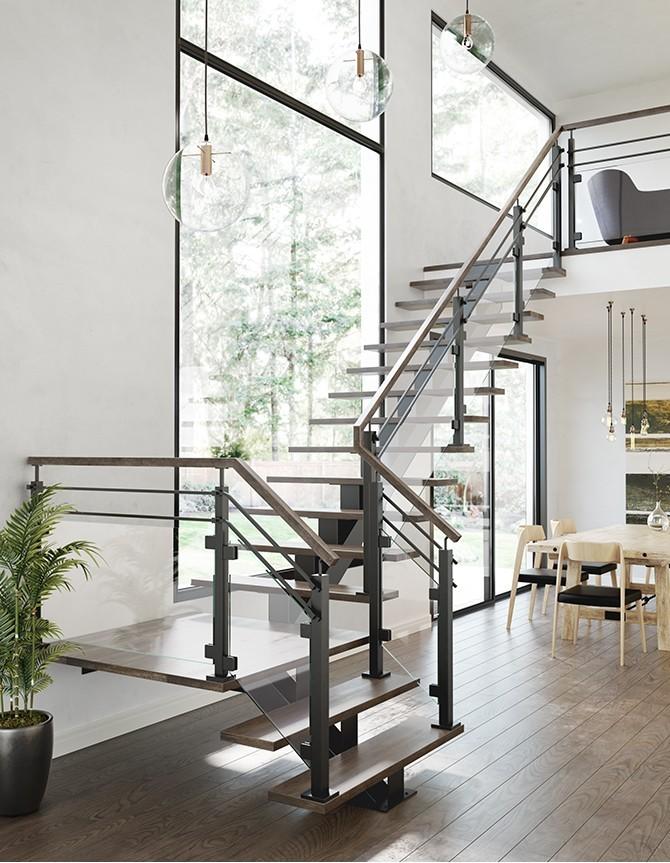 Escalier flottant avec garde-corps en verre et poteaux en acier inoxydable