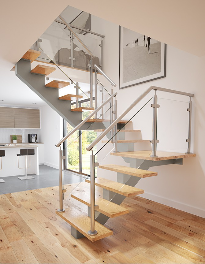 Glass and stainless steel stairs PTC 168
