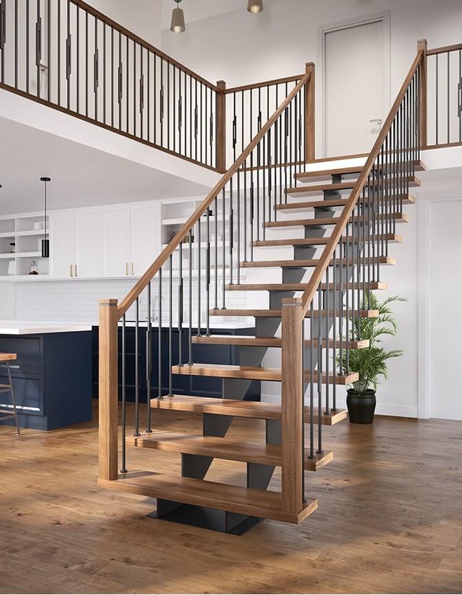 Escalier avec marches en bois, barreaux en acier forgé et double limon central