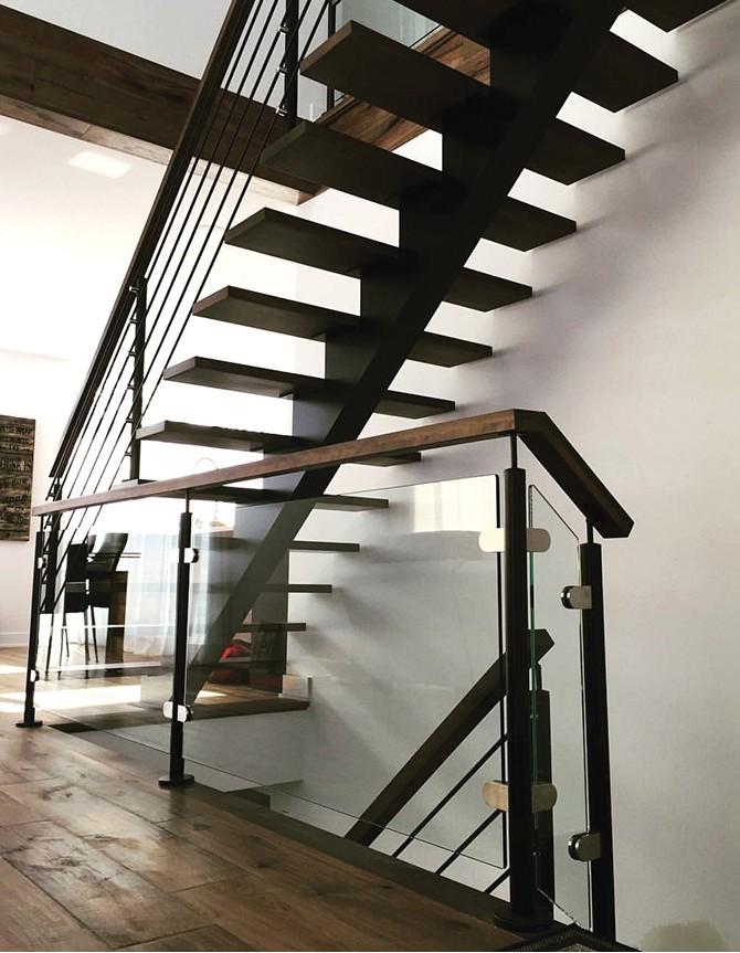Escalier en bois, acier et verre PTR 168