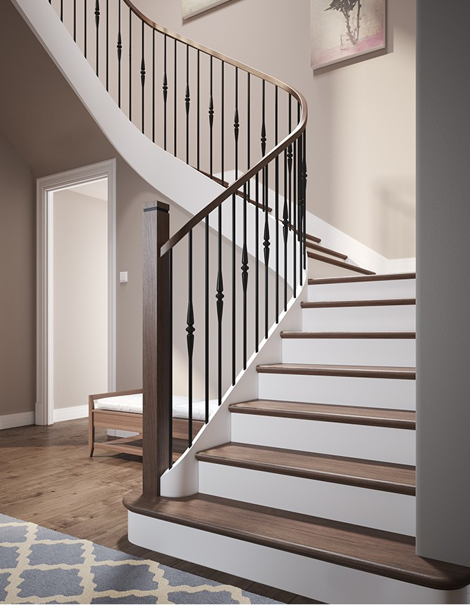 Quarter-turn wooden staircase with forged steel balusters