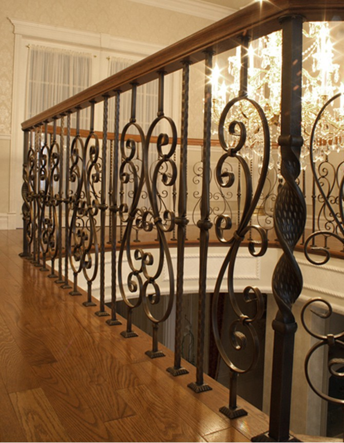 Wood and forged steel staircase
