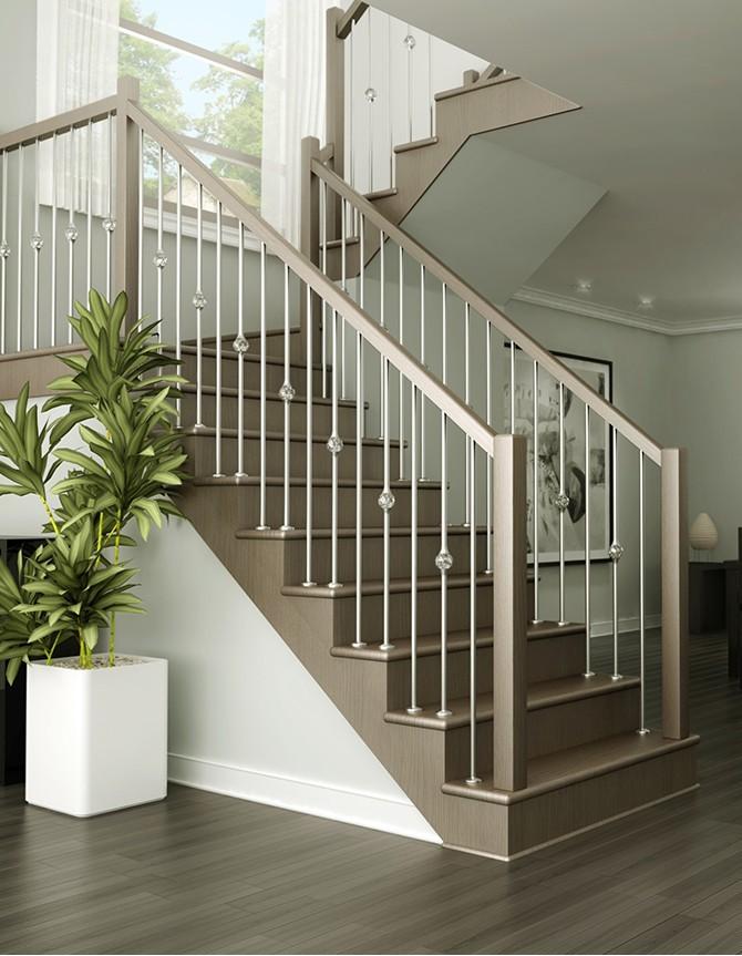 Escalier en bois avec barreaux en acier inoxydable ZH 020
