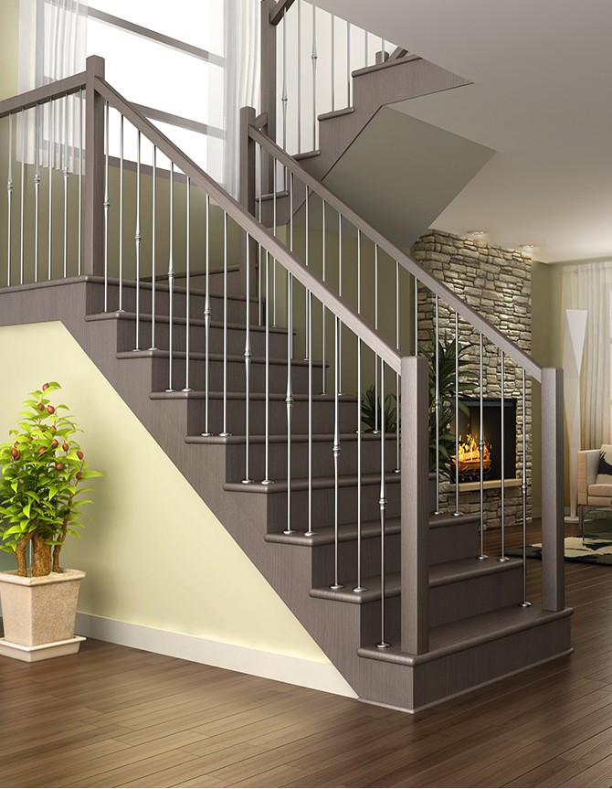 Stainless steel and wood staircase ZH 031