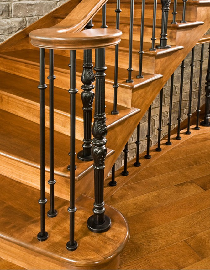 Wood and forged steel staircase PH 091